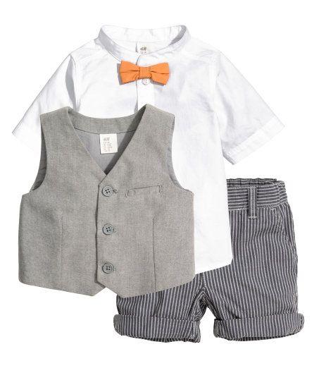 Set mit Hemd, Weste und Shorts aus weicher Baumwolle