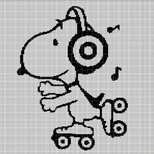 Snoopy with roller skates crochet afghan pattern graph