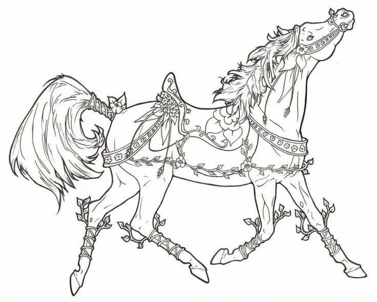 Horse Floral Coloring Page