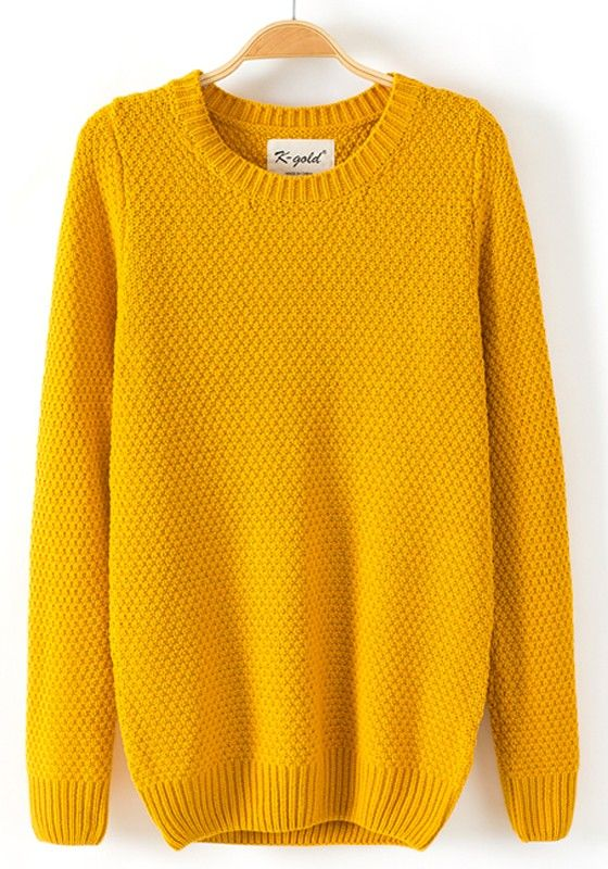Yellow Plain Long Sleeve Pullover | Pullover, Autumn and Mustard