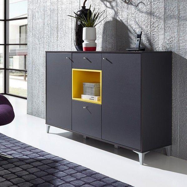 Wohnzimmer Sideboard Crane in Anthrazit Gelb | Happy Home ...