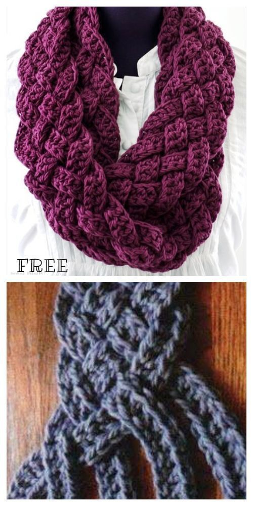 Crochet Braided Scarf Free Patterns-   –  knithat.decorhous…- – Stricken ist s…