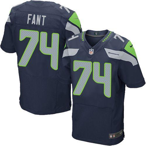 Men s Nike Seattle Seahawks  74 George Fant Elite Steel Blue Team Color NFL  Jersey 9a71e5c5a