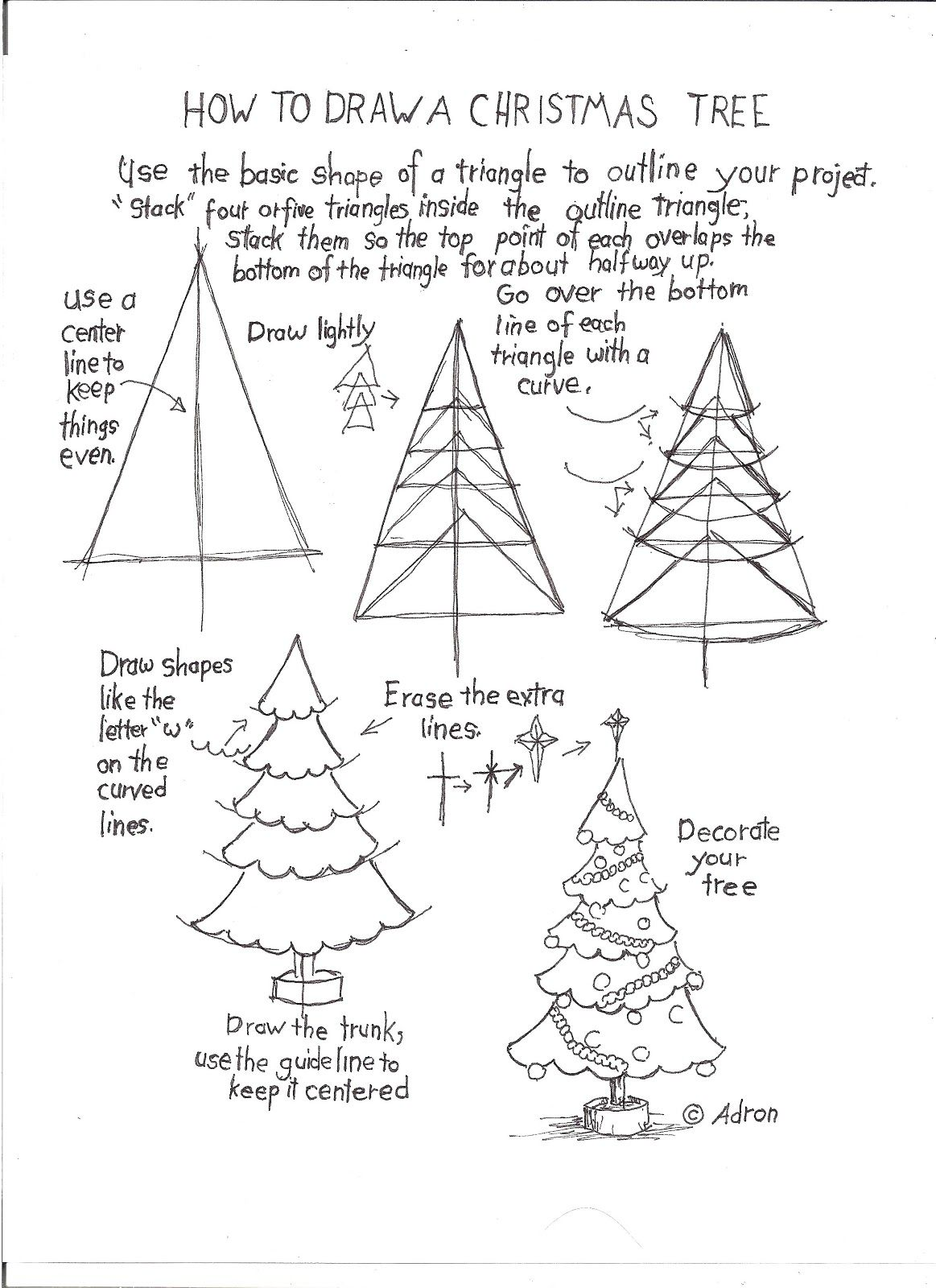 How To Draw A Christmas Tree Worksheet