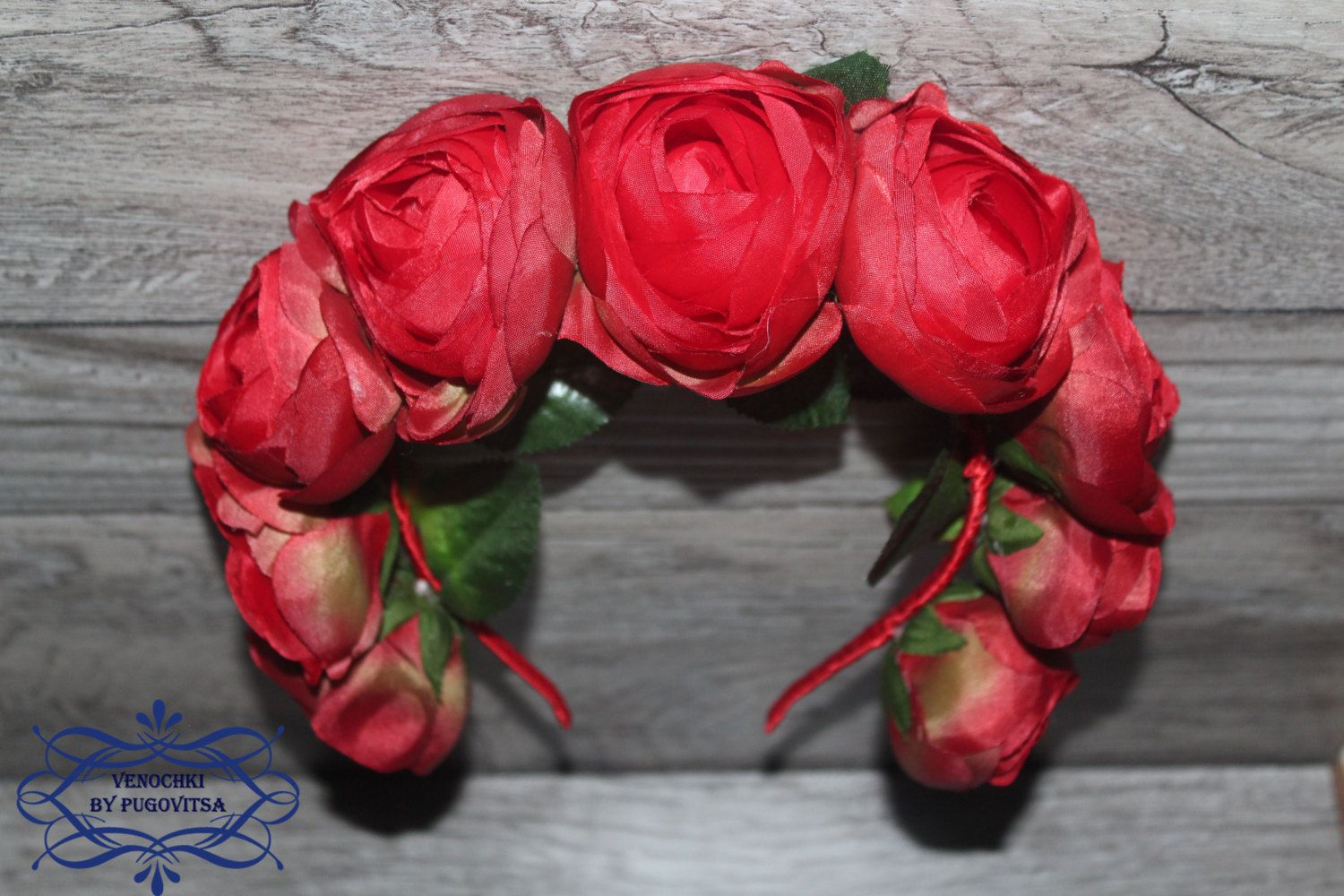 Red flower headpiece floral crown flower crown wedding flower red flower headpiece floral crown flower crown wedding flower headband red flower headband adult flower crown headband flower head wreath by forbridal on izmirmasajfo
