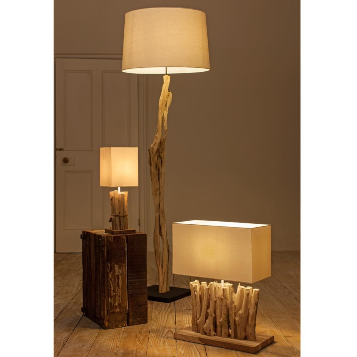 decor lamps wood pottery uk coastal lamp floor driftwood barn relaxing