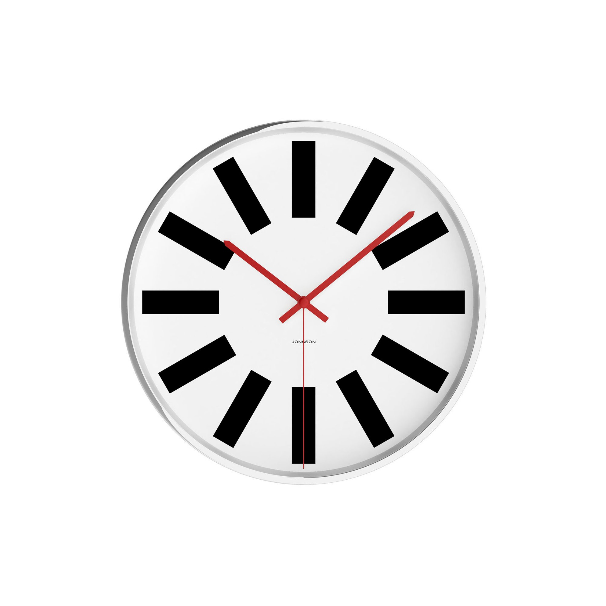 Chrome 12 Round Wall Clock White Jonsson Timeware With Images Wall Clock Round Wall Clocks Clock