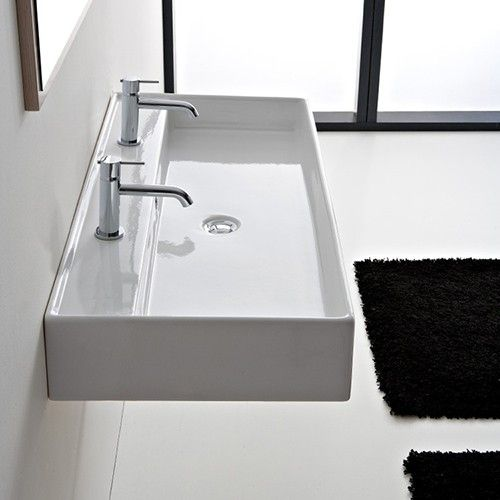 Alternate View Shown With Custom Two Faucet Holes Bathroom