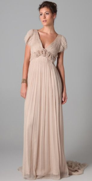 8c78a5afaa Leila Hafzi Bridal Beige Fariba Ruffle Sleeve Gown