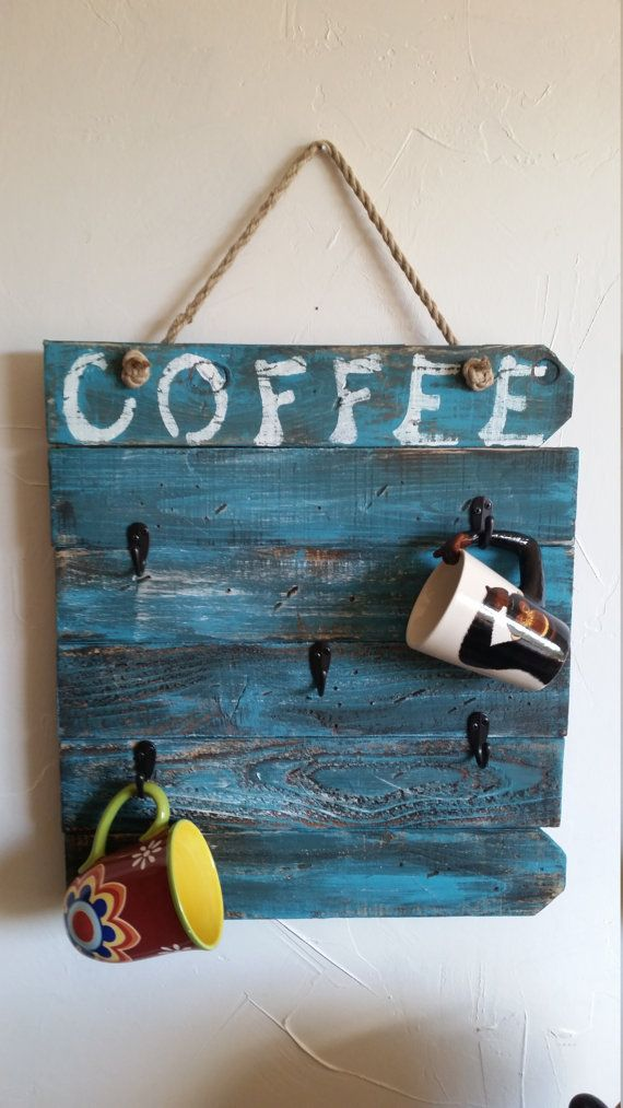 Rustic handmade and hand painted Coffee by RustyBarrelCreations