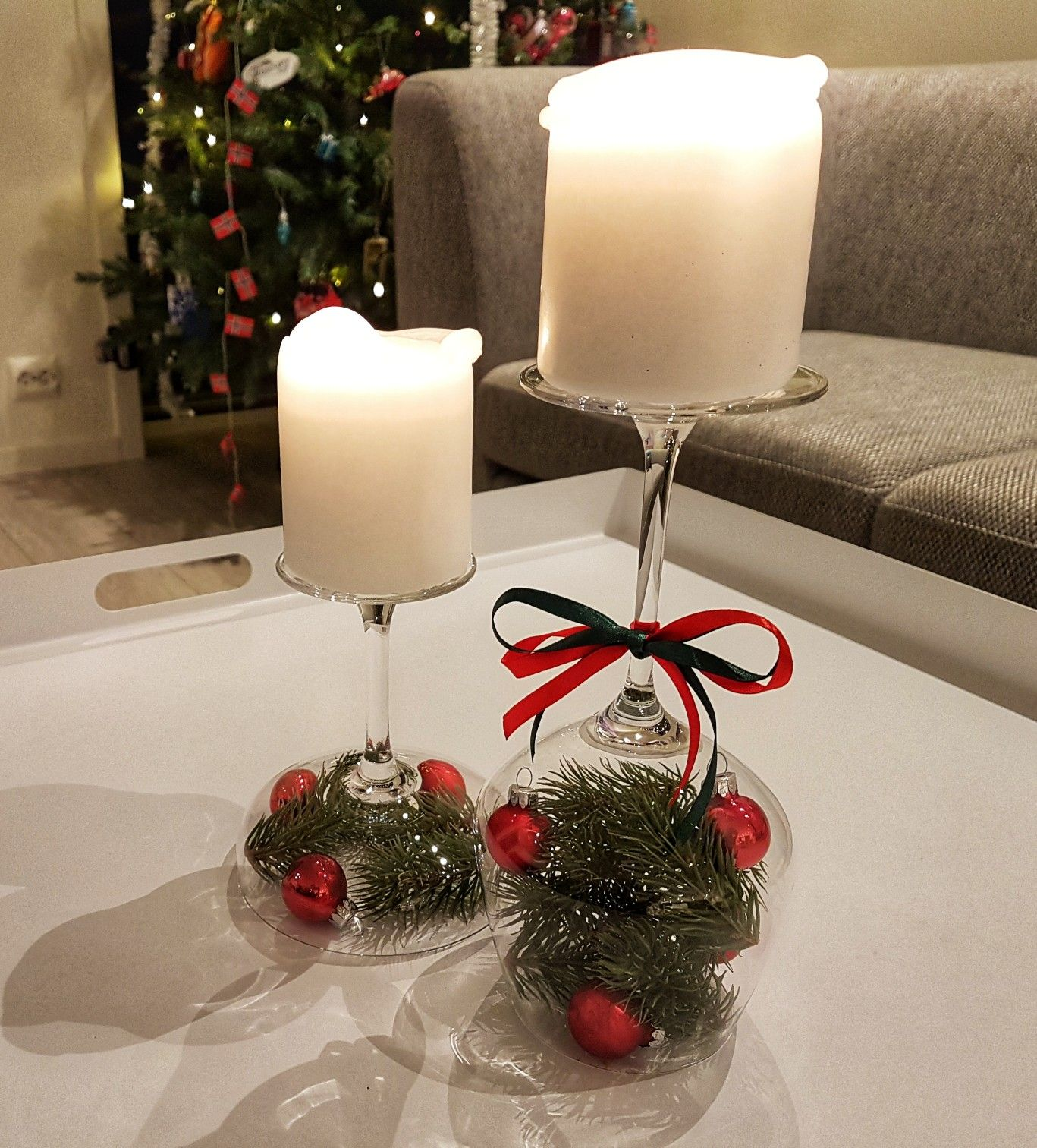 Easy To Make Christmas Decorations Made Using Wine Glasses The Perfect Last Minut Christmas Candle Holders Diy Christmas Table Decorations Diy Christmas Table