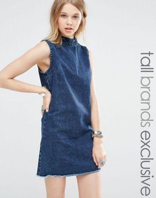 Glamorous Tall - Robe droite en jean sans manches à ourlet effiloché et  anneaux en D b68b76e56813