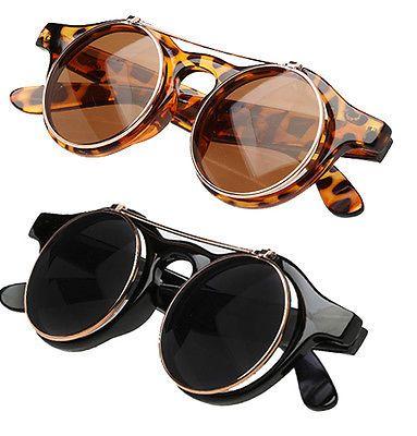 faec6f66d5 Mens Ladies Steampunk Goggles Glasses Sunglasses Retro Vintage Flip Up Lens