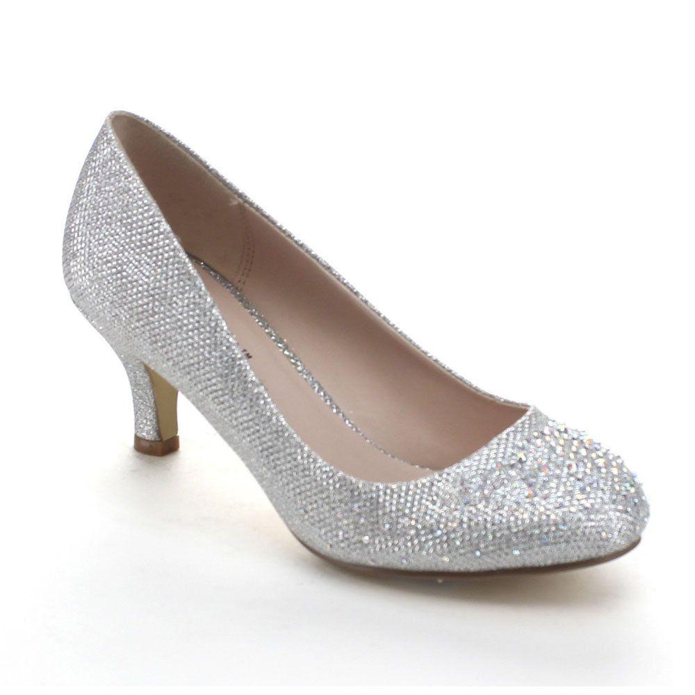 cad8ab0cf Bonnibel Wonda-1 Womens Round Toe Low Heel Glitter Slip On Dress Pumps    Amazon.com
