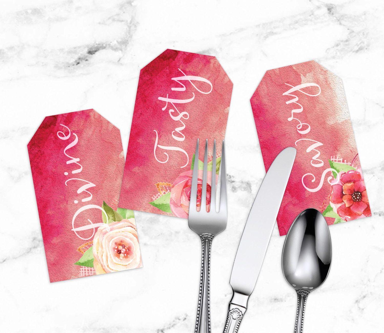 Wedding Cutlery Wedding Printable Watercolor Floral Engagement
