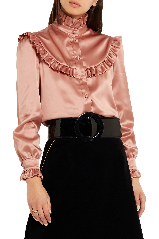 00c4ebab5cf6da Ruffled silk-satin blouse | SAINT LAURENT | Sale up to 70% off | THE OUTNET
