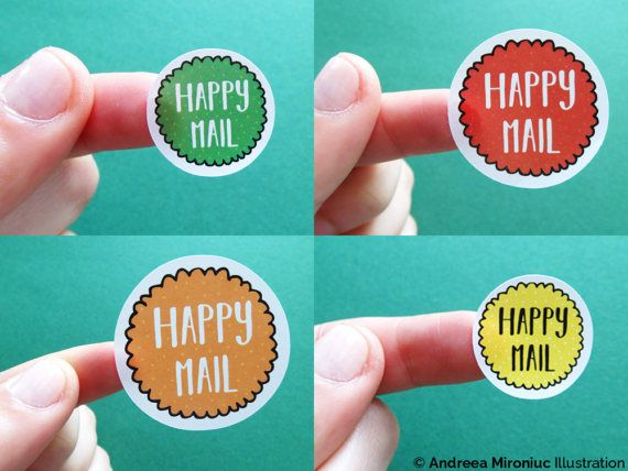 Boost your packaging with these super cute happy mail round stickers ♥ by andreeaillustration on