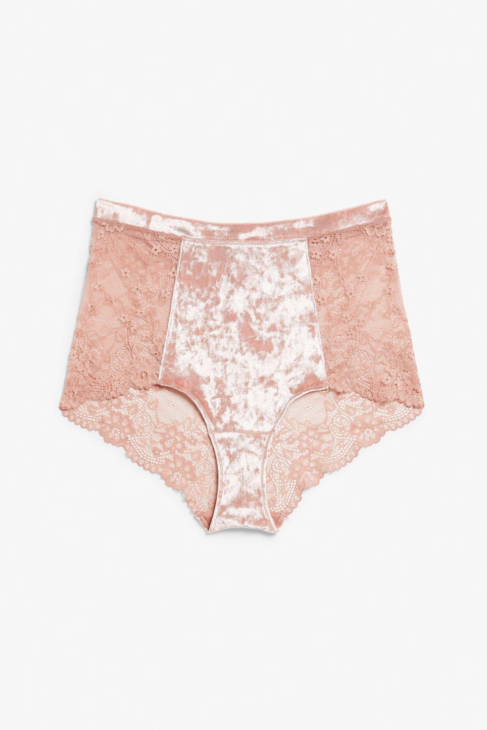 Velvet and lace high waist briefs - IT pink - Underwear - Monki GB ... 1a872ddcc