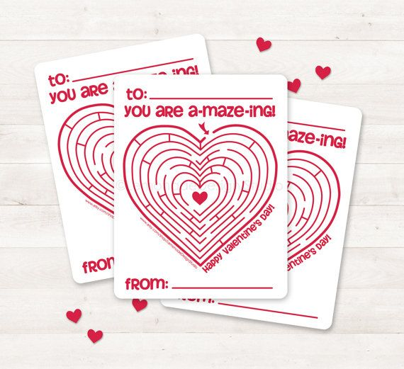 Printable Valentine Card Kids Valentine Card Valentine Maze Diy