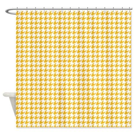 Yellow And White Houndstooth Shower Curtain On CafePress