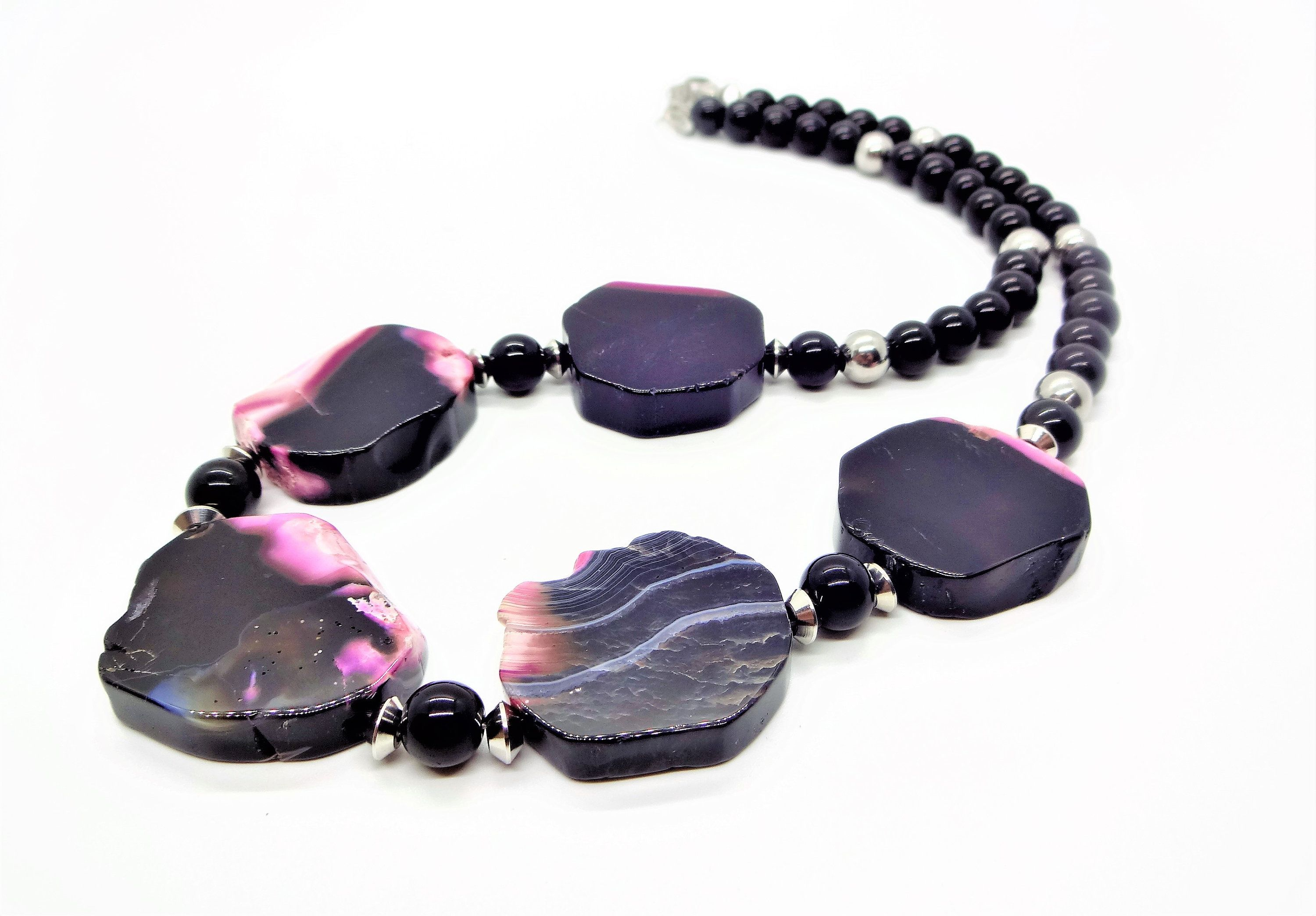 Semiprecious PINK Onyx Necklace and matching Earrings FREE SHIPPING