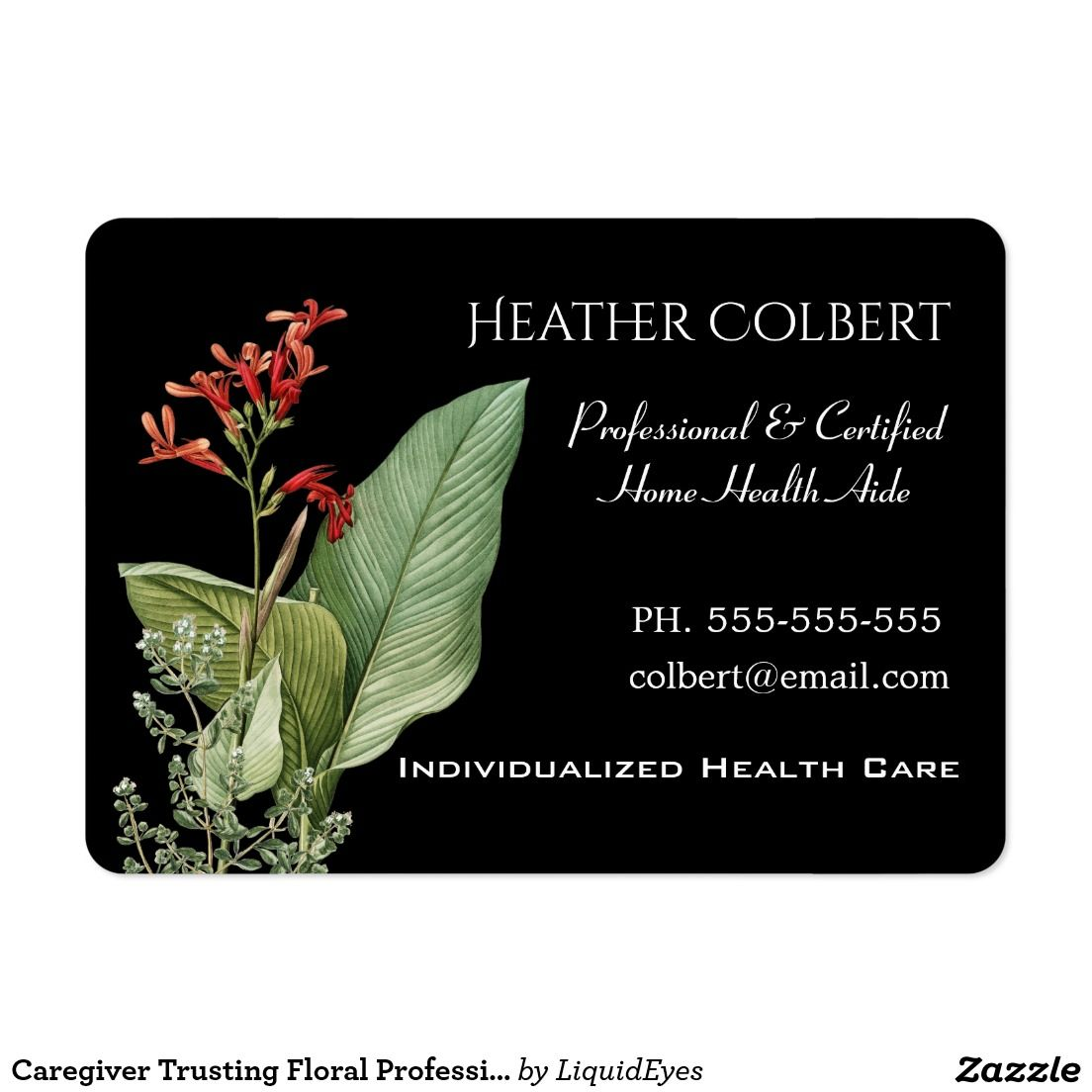 Caregiver Trusting Floral Professional Large Business Card ...