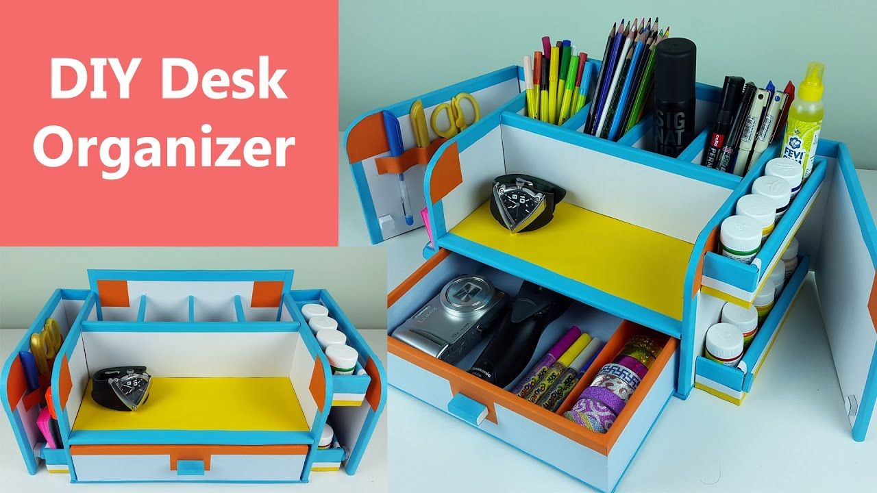 Cardboard Organizer With Drawers And Doors Desk Organization Diy Organized Desk Drawers Diy Desk