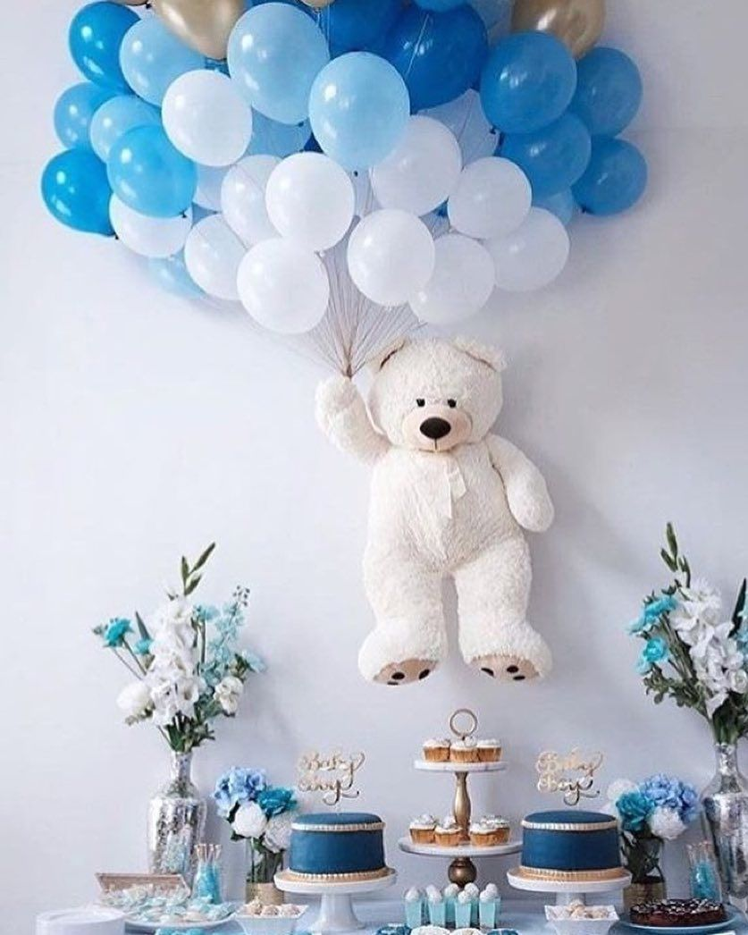 Baby Shower Party Babyshower Baby Blue Boy Party Balloons White Bear S Baby Shower Wall Decor Baby Shower Balloons Teddy Bear Baby Shower Decorations