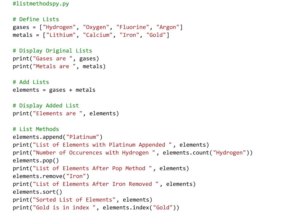 Python Code for List Methods (e.g. sort). Text Editor