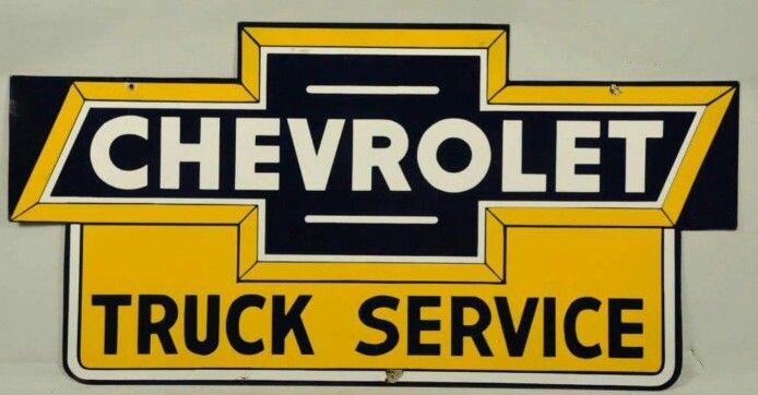 Rare Porcelain Chevrolet Truck Service Sign Truck Signs
