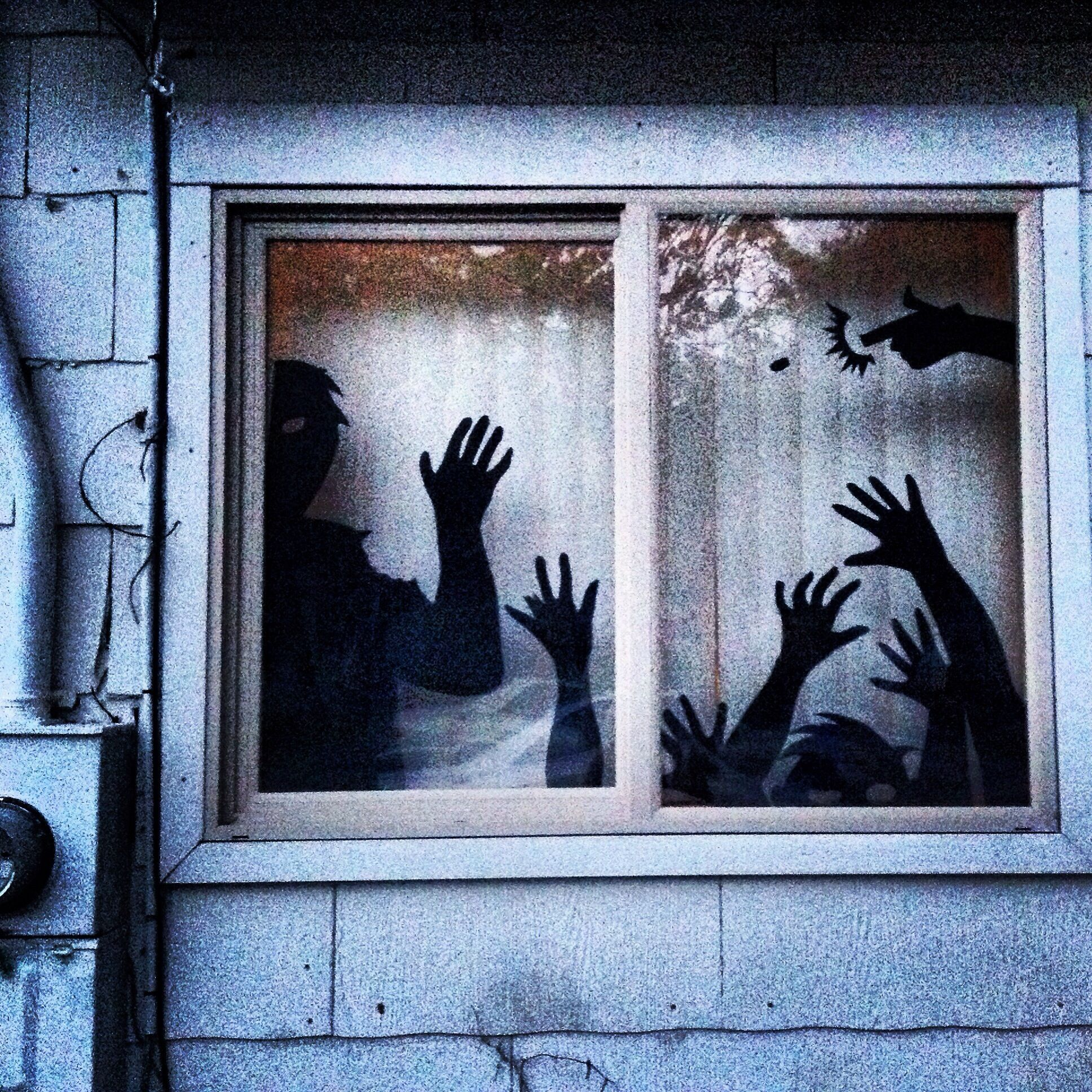 How To Make A Zombie Window For Halloween Recipe With Images Zombie Party Decorations Horror Party Zombie Decorations