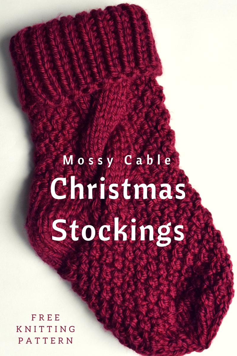 Mossy Cable Christmas Stockings -- FREE Knitting Pattern by ...