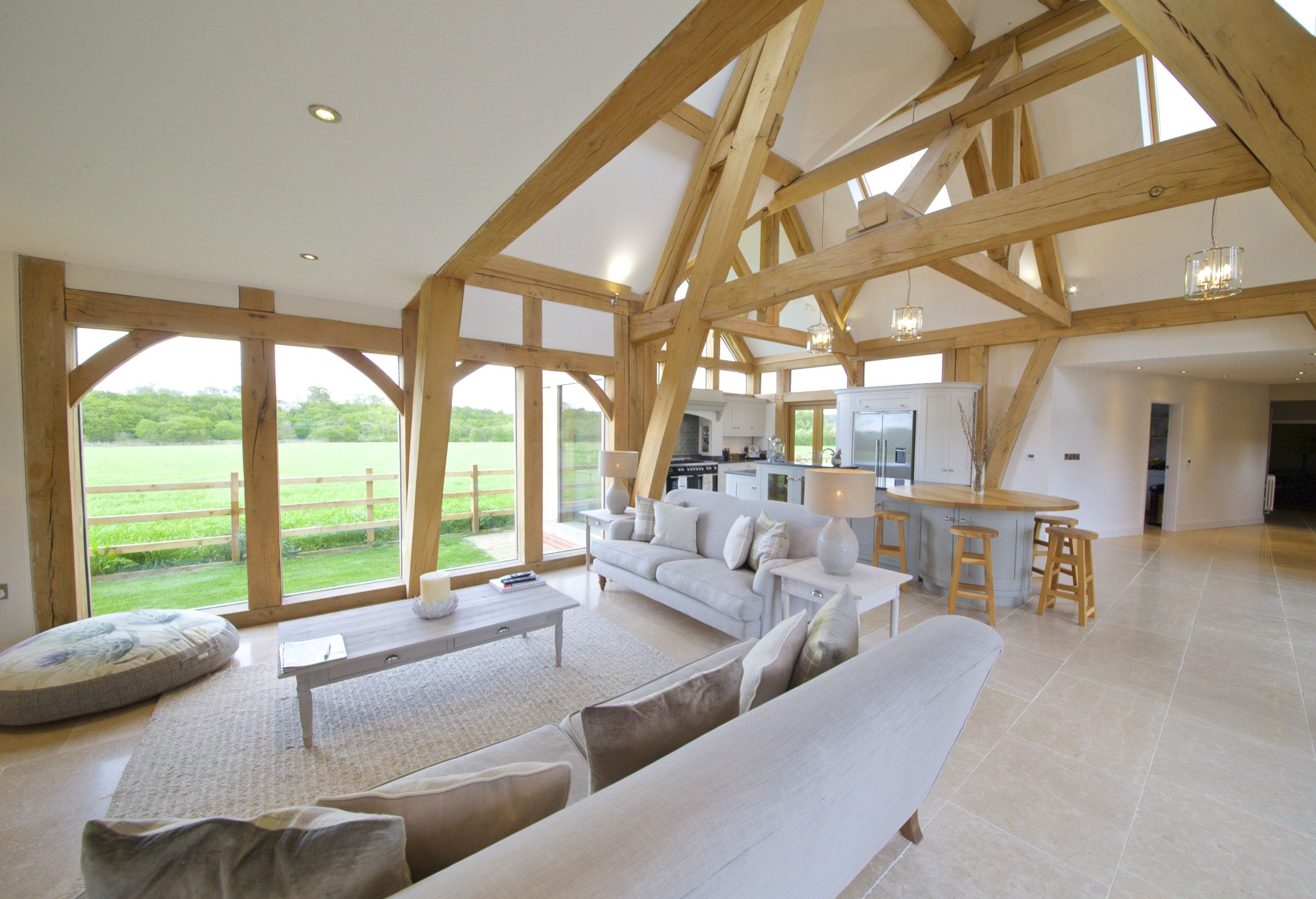 Beautiful Oak Framed Kitchen Dining And Garden Room Extension To Large Georgian Farmhouse