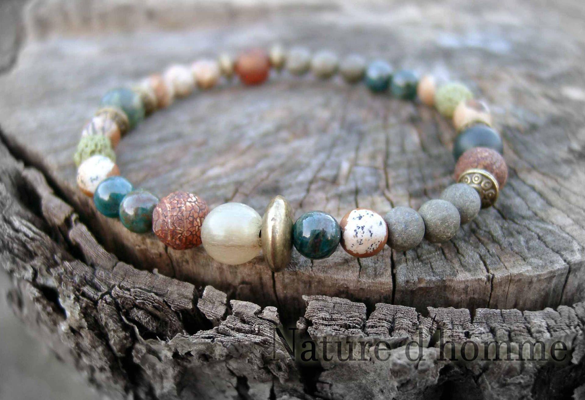un bracelet tr s masculin avec ce m lange de perles en pierres naturelles pierre dagate dzi ou. Black Bedroom Furniture Sets. Home Design Ideas