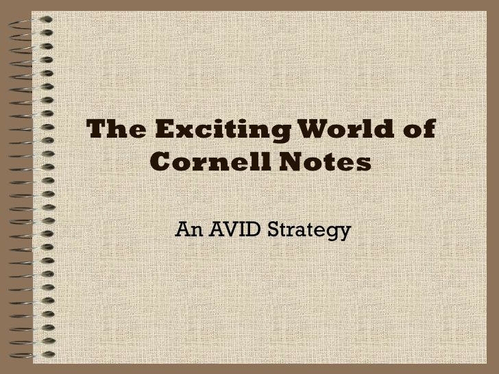 The Exciting World Of Cornell Notes An Avid Strategy  Educational