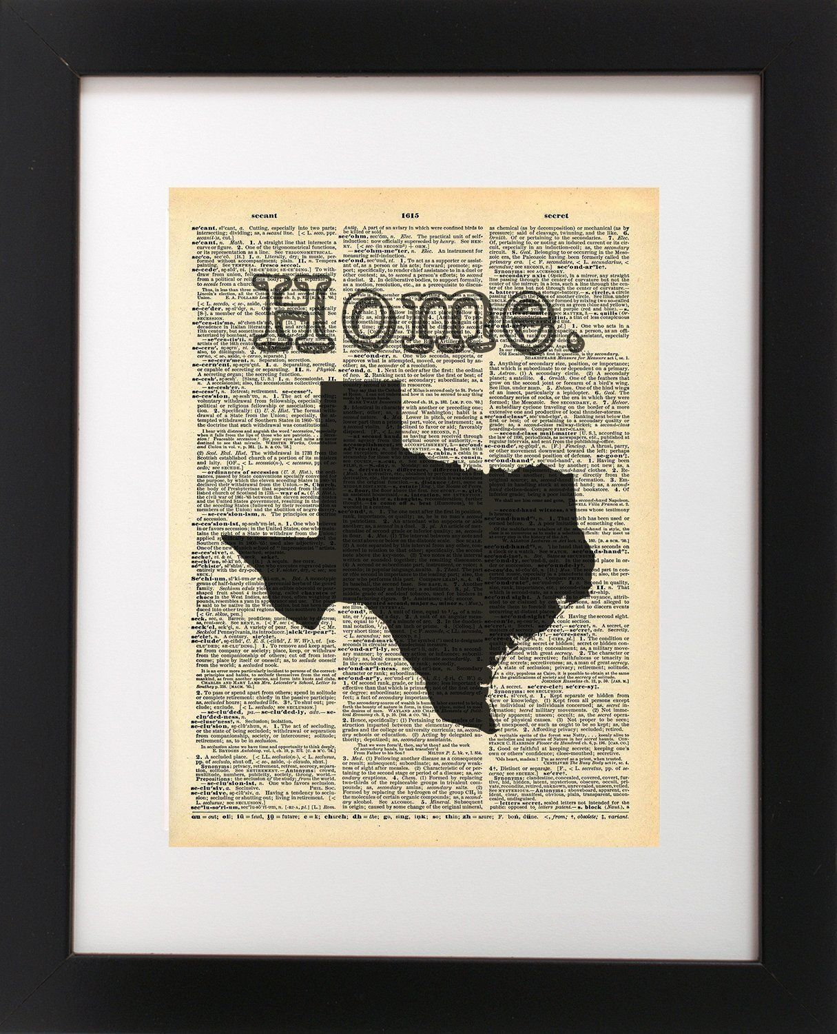 Texas vintage map vintage dictionary print x inch home vintage
