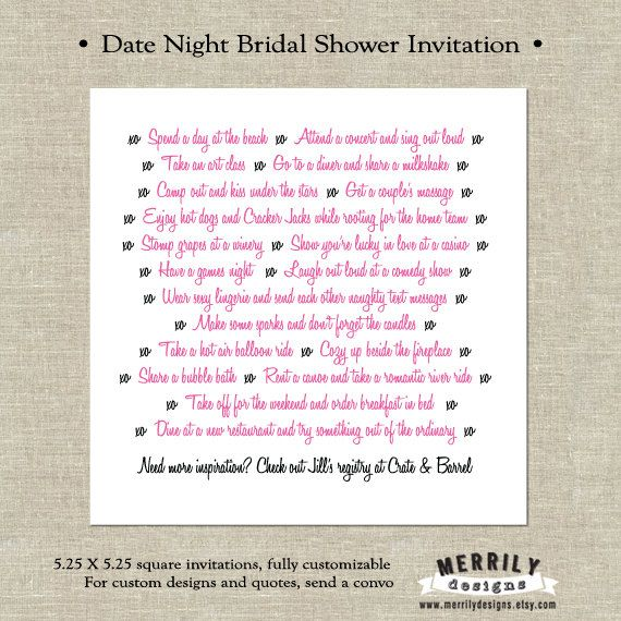 bridal shower invitation date night theme by merrilydesigns