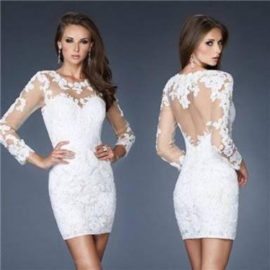 Vestido de festa curto de renda branco