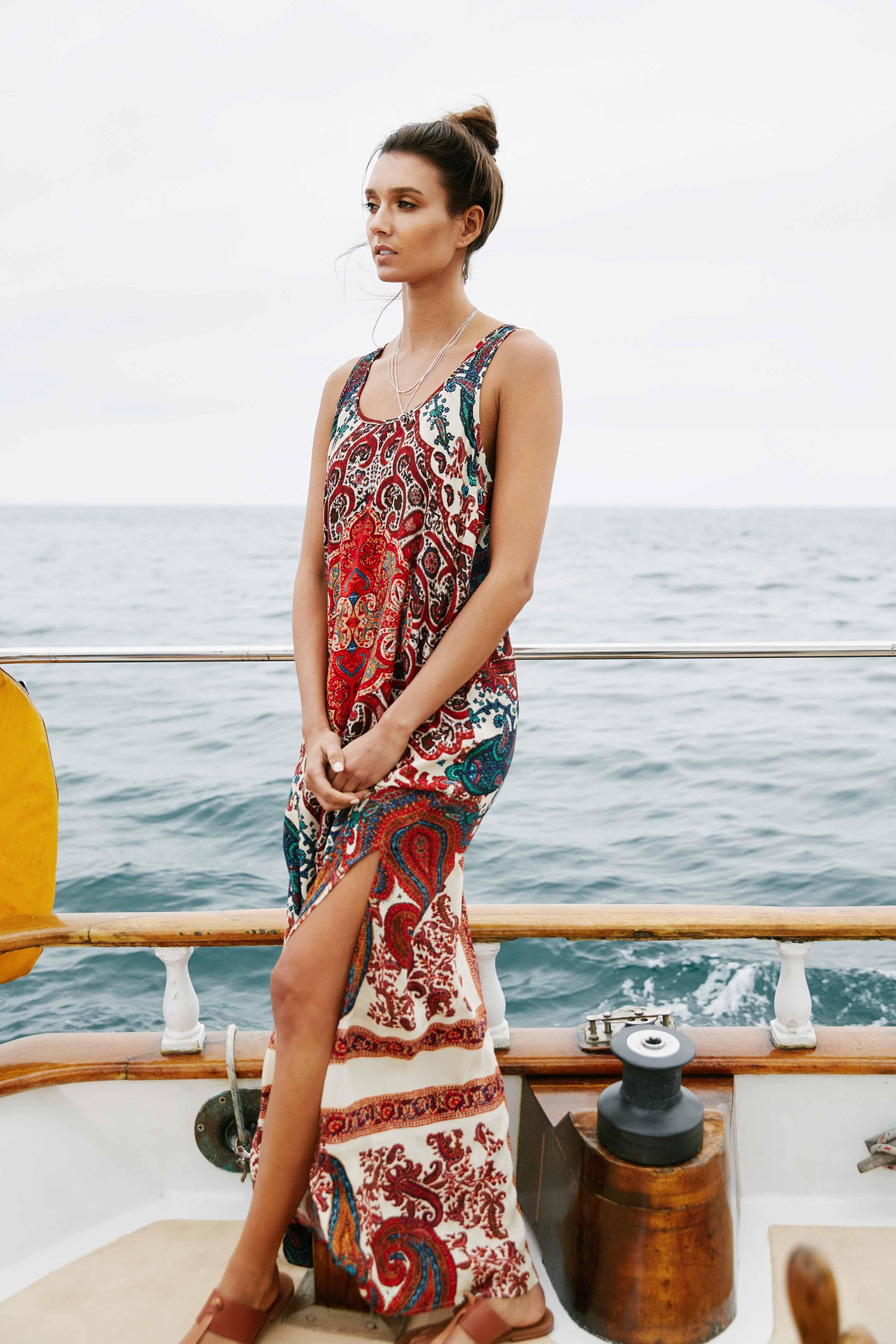 8534d6bcfff SIDE SLIT MAXI DRESS- A bold paisley print sets an exotic