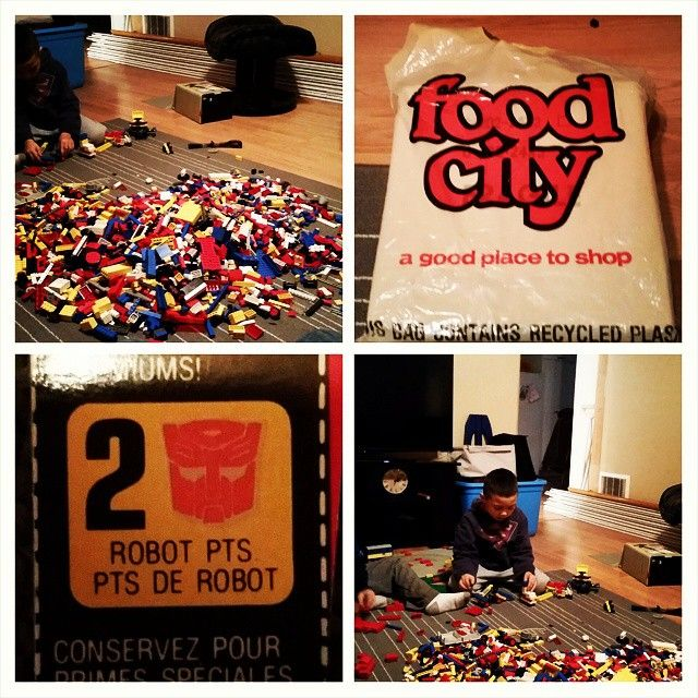 The boys are excited playing with my old Lego! Let the building begin! Look at the bag the lego was in and look what I found. Lol #throwback #lego #kids #building #legosthebest #foodcity #transformers