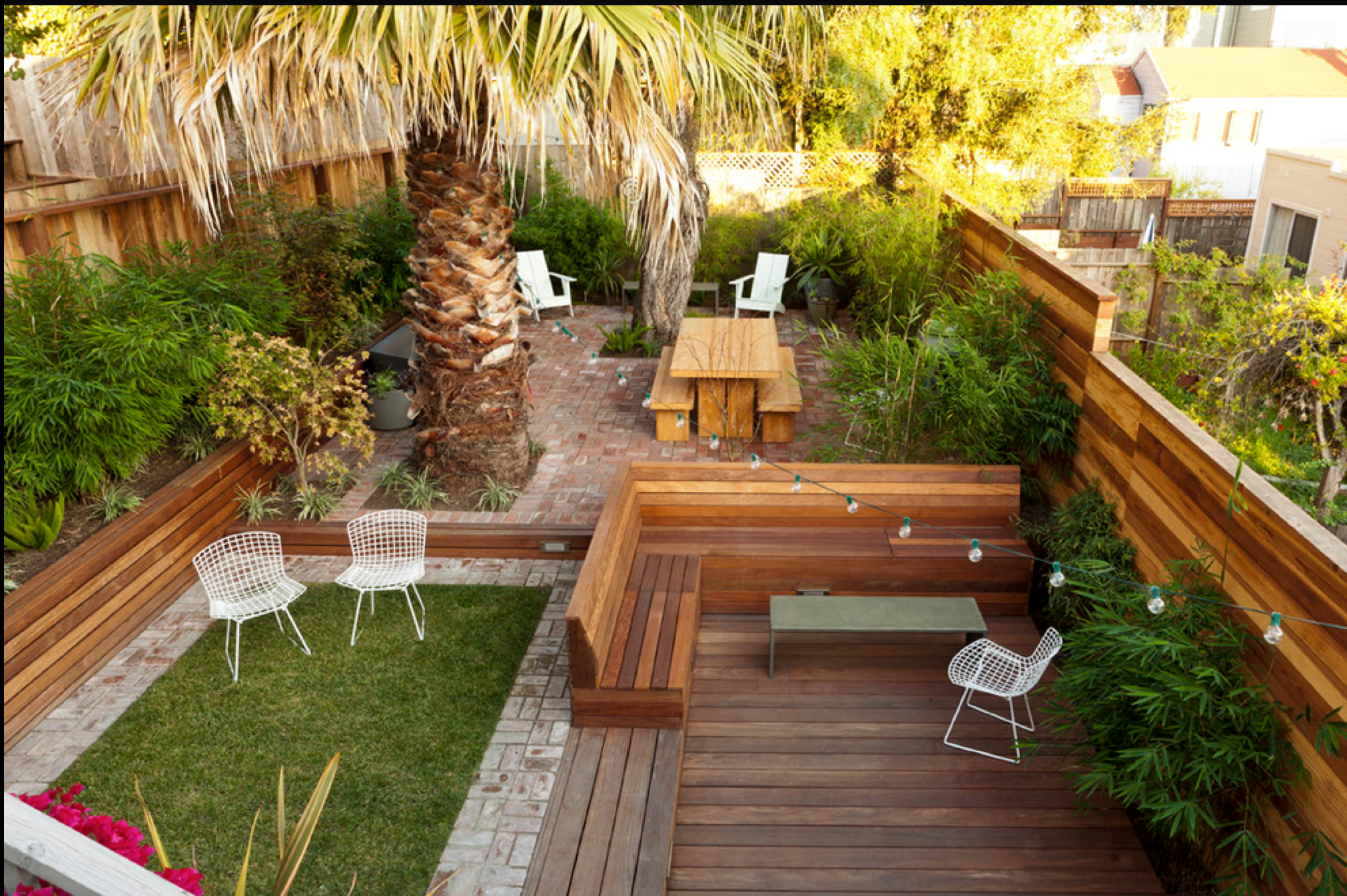 houzz. lush, private. nooks  Small backyard landscaping, Sloped