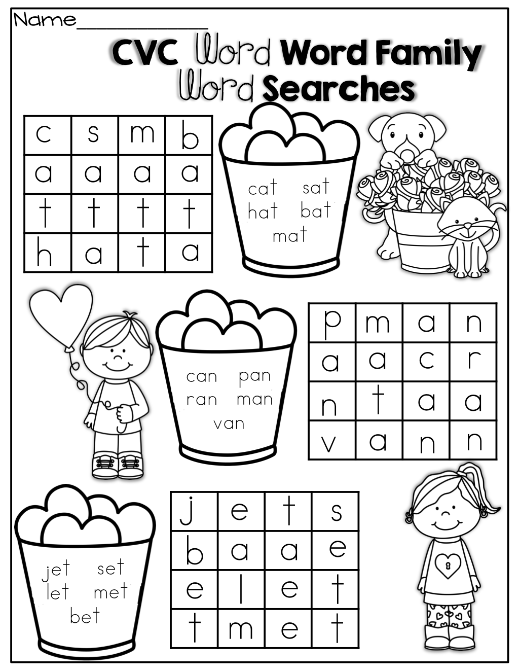 Simple Cvc Word Searches By Word Family