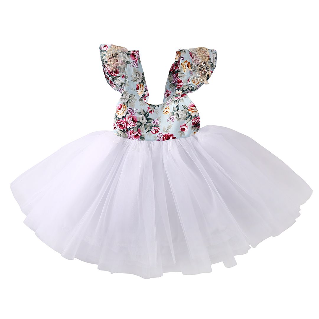 Toddler Newborn Baby Girl Princess Tutu Dress Floral Spliced Party Tulle Dresses