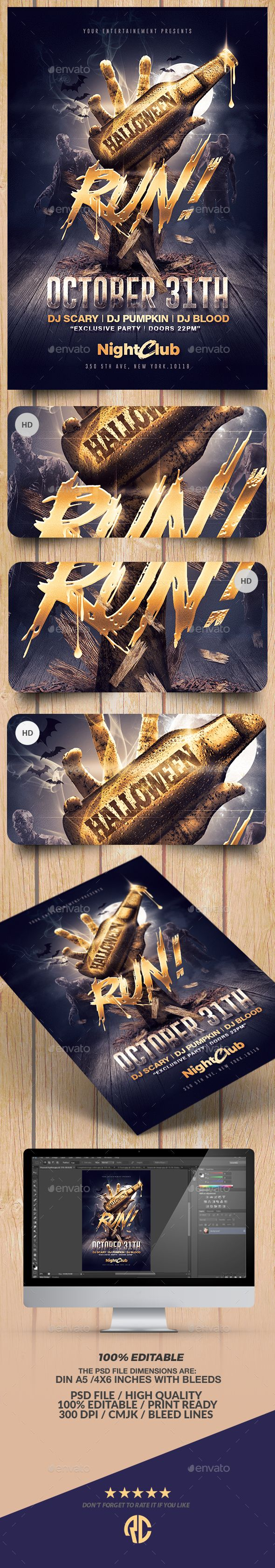 Halloween Zombie Party  Gold Flyer Template  Zombie Party