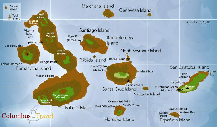 galapagos islands map | Travel Map of the Galapagos Islands ... on
