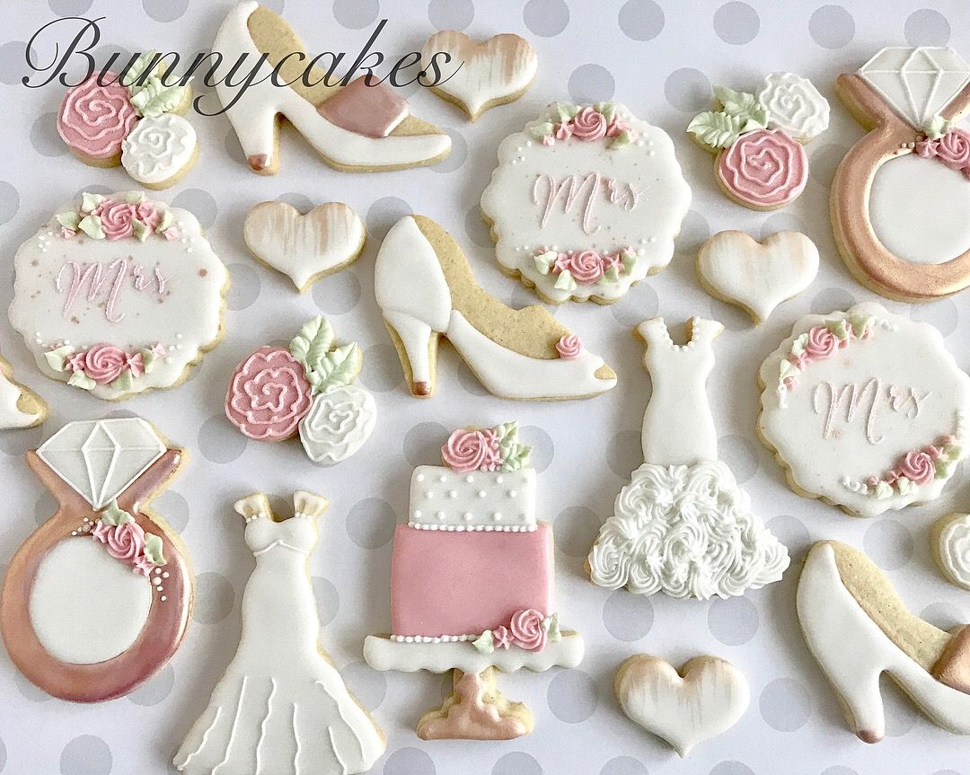 Bridal Shower Sugar Cookie Favors In Pink White And Rose Gold By