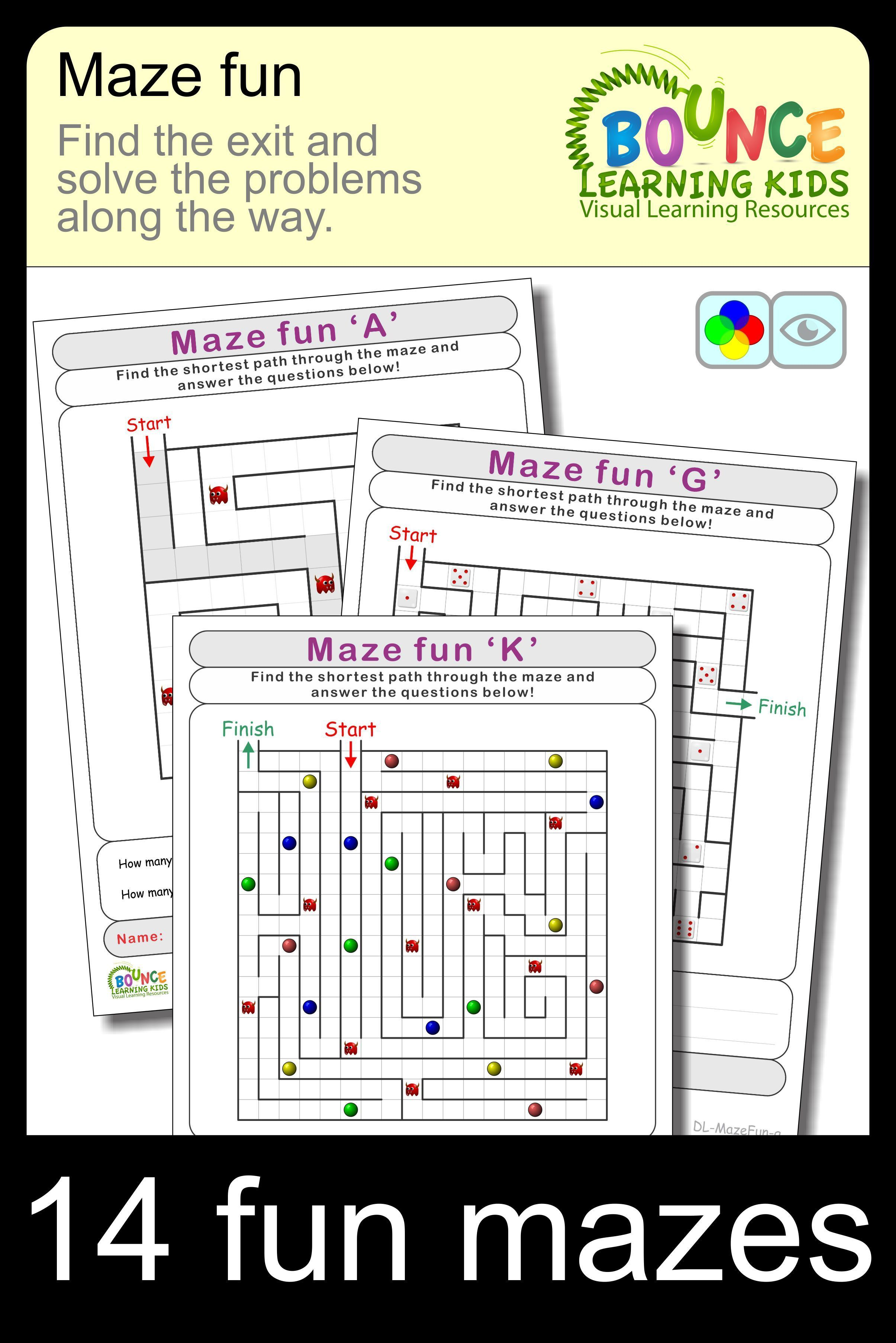 Maze Fun 14 Distance Learning Worksheets For Visual