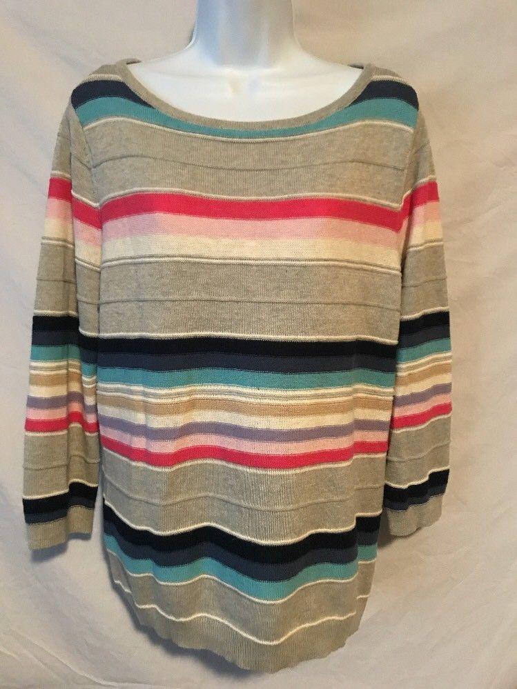 ecaa4a93d7d Chaps Women XL Gray Pink Blue Stripe Cotton Linen Polyester Sweater Top   Chaps  Sweater