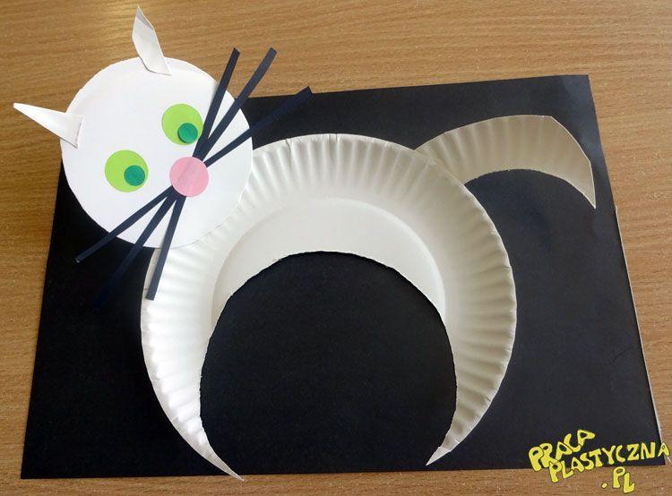 Kot Bialy I Czarny Prace Plastyczne Dla Dzieci Crafts Arts And Crafts For Kids Cat Crafts