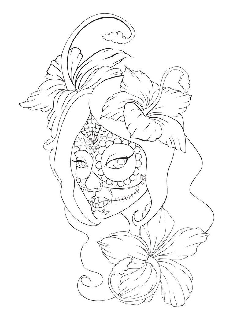 Sugar Skull Tattoo. Would use different flowers and a diff ...